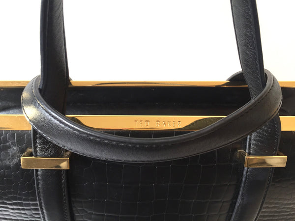 Ted Baker Black Leather Metal Bar Tote | Pre Loved | - Secret Stash