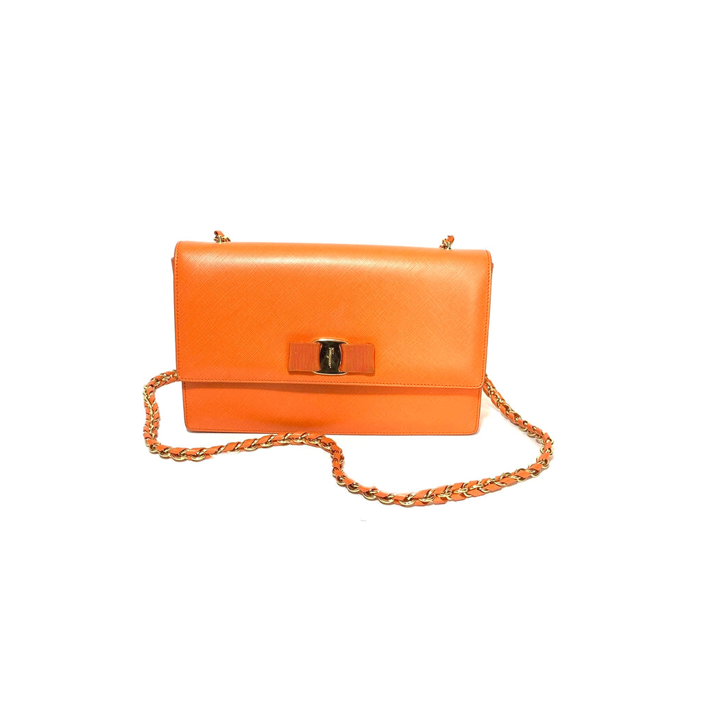 Salvatore Ferragamo Orange Vara Bow Leather Shoulder Bag | Pre Loved |