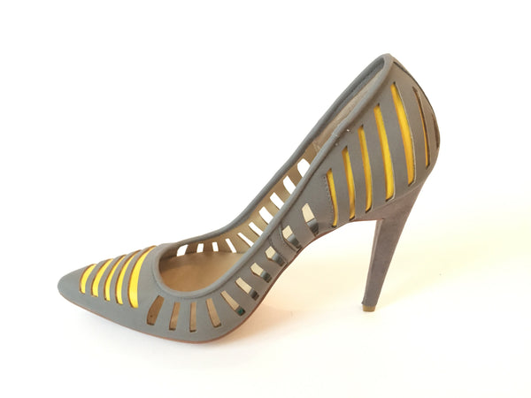 GX by Gwen Stefani Grey & Yellow Pointed Pumps | Brand New |