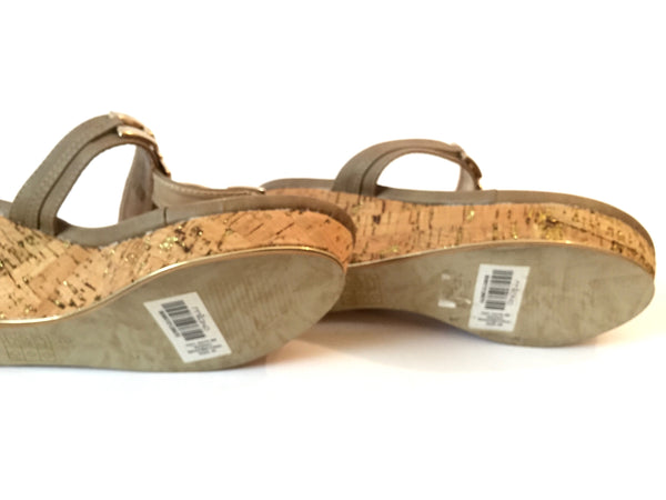 Milano Beige & Gold Wedge Sandals | Like New |