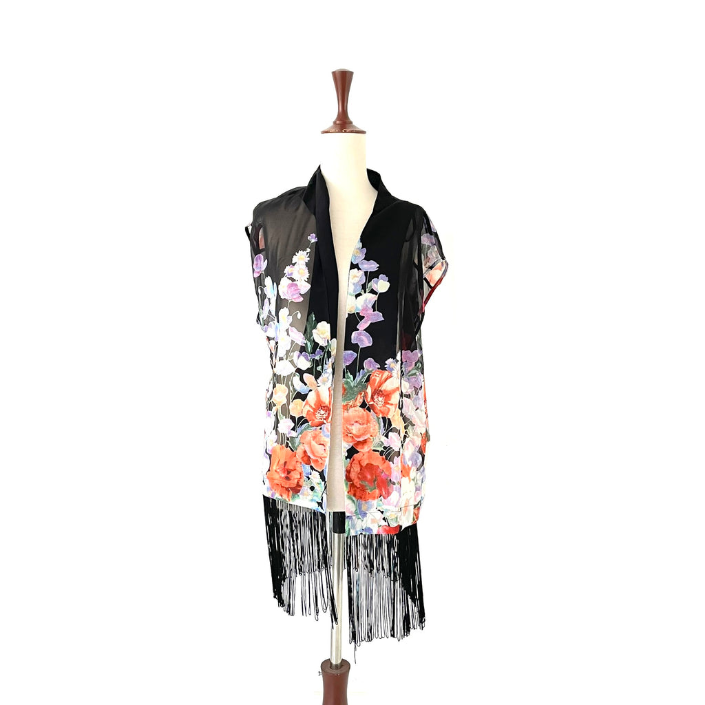 Quiz Floral Sleeveless Chiffon Fringe Jacket | Gently Used |