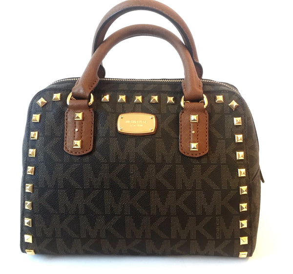 Michael Kors Monogram Studded Cross Body Bag | Like New |