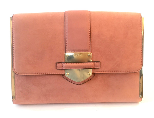 ALDO Pink Suede Clutch Bag | Gently Used |