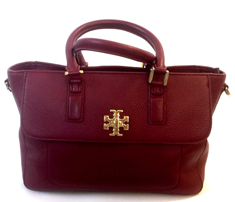 Tory Burch Maroon Pebbled Leather Tote Bag | Gently Used |