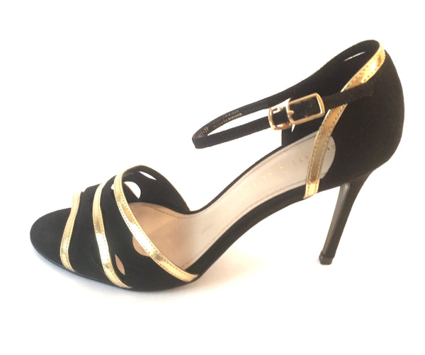 Charles & Keith Black & Gold Suede Heels | Like New |