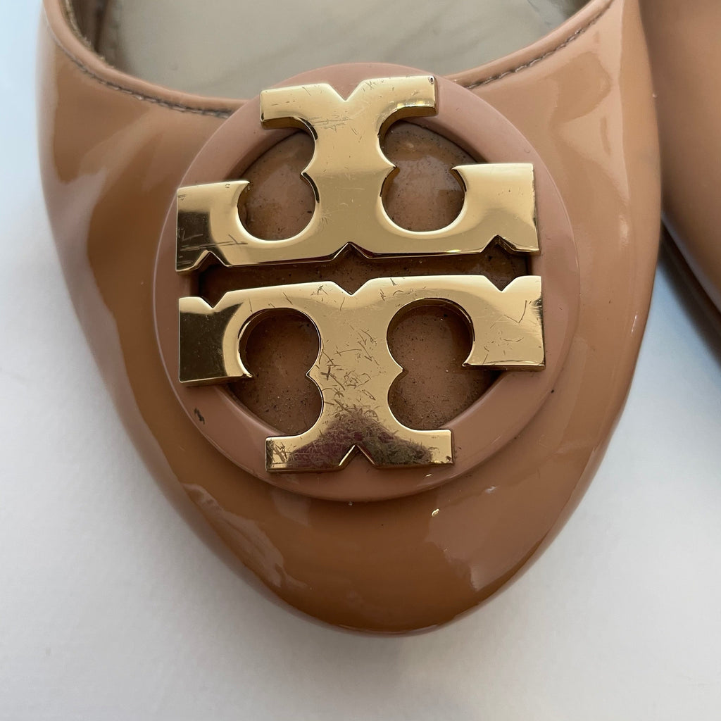 Tory Burch Beige Patent Leather 'Claire' Ballet Flats | Pre Loved |