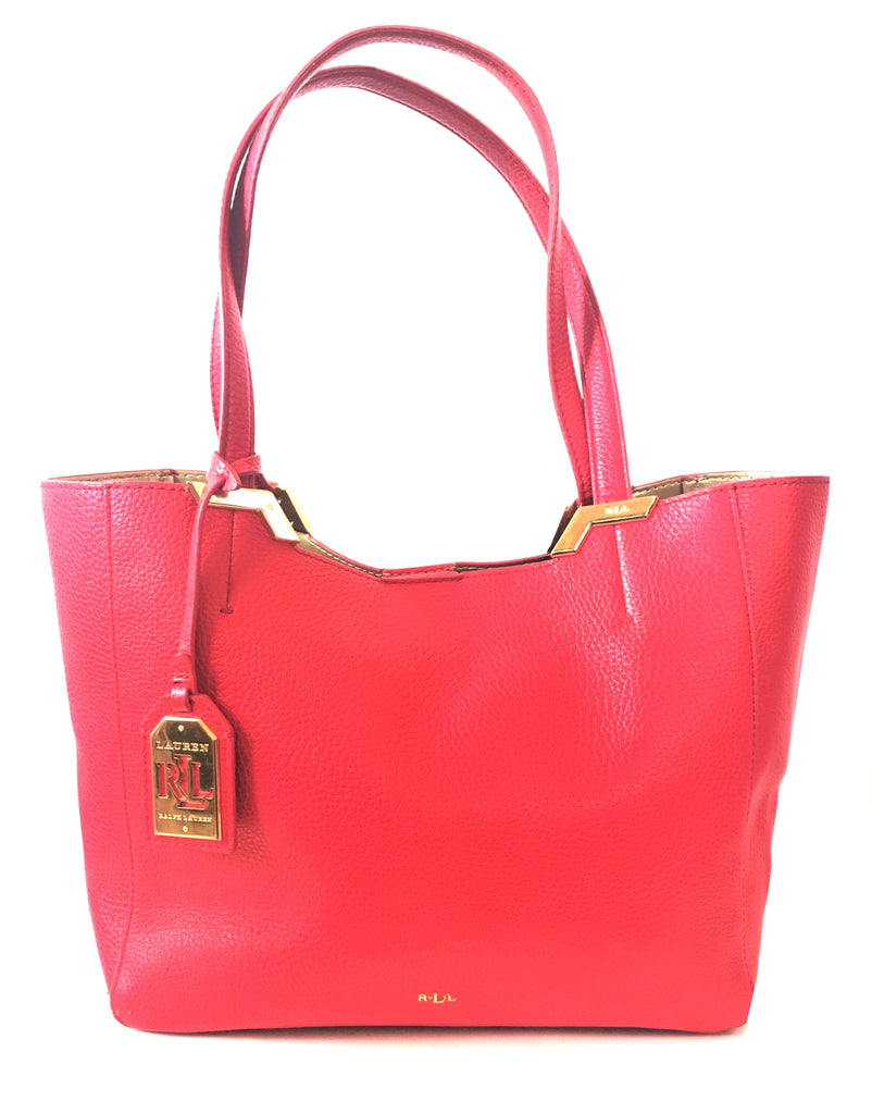 LAUREN Ralph Lauren Red Pebbled Leather Tote | Pre Loved |