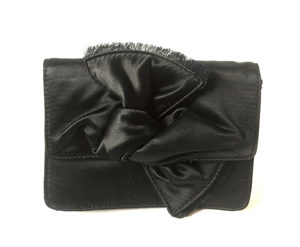 BCBG MAXAZRIA Black Satin Clutch | Pre Loved |
