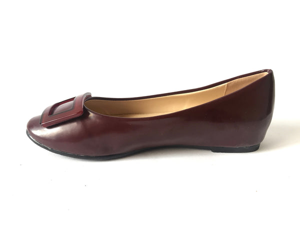 Insignia Maroon Leather Ballet Flats | Like New | - Secret Stash