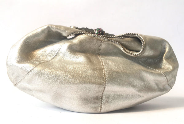 Jimmy Choo Metallic Silver Satin Clutch | Gently Used | - Secret Stash