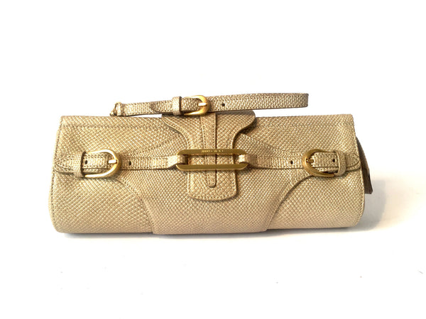 Jimmy Choo Gold Buckle Wristlet Clutch | Like New | - Secret Stash