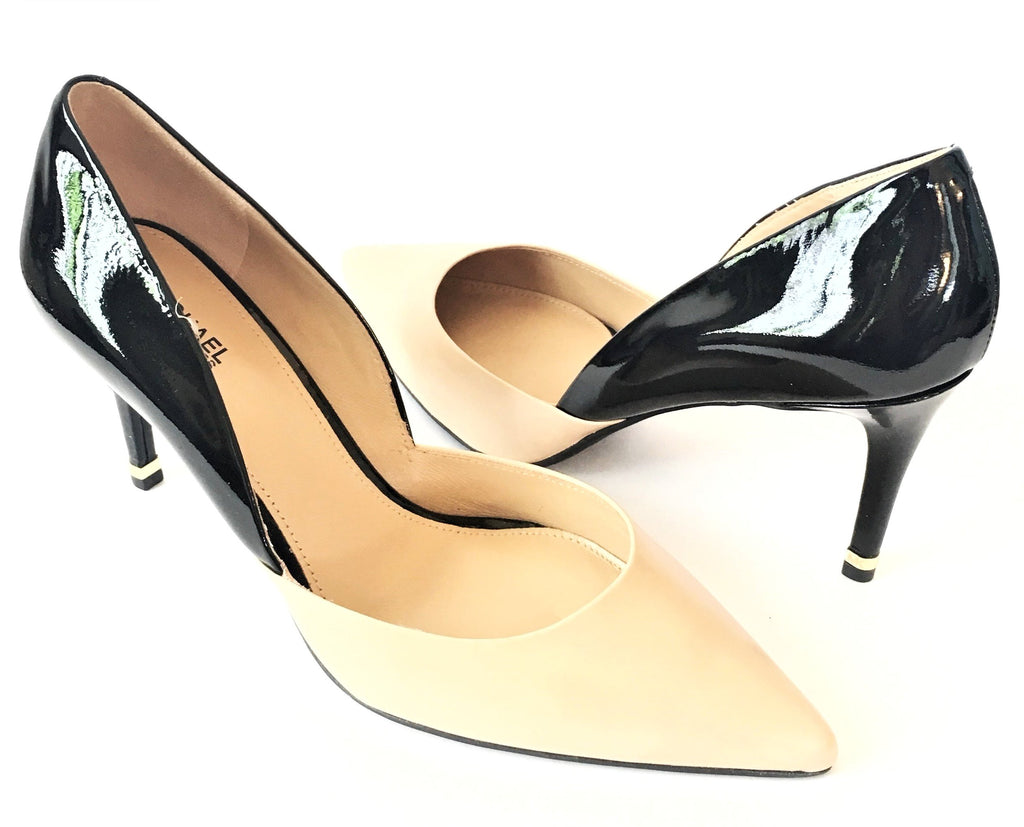 Michael Kors Beige & Black Leather Pumps  | Brand New |