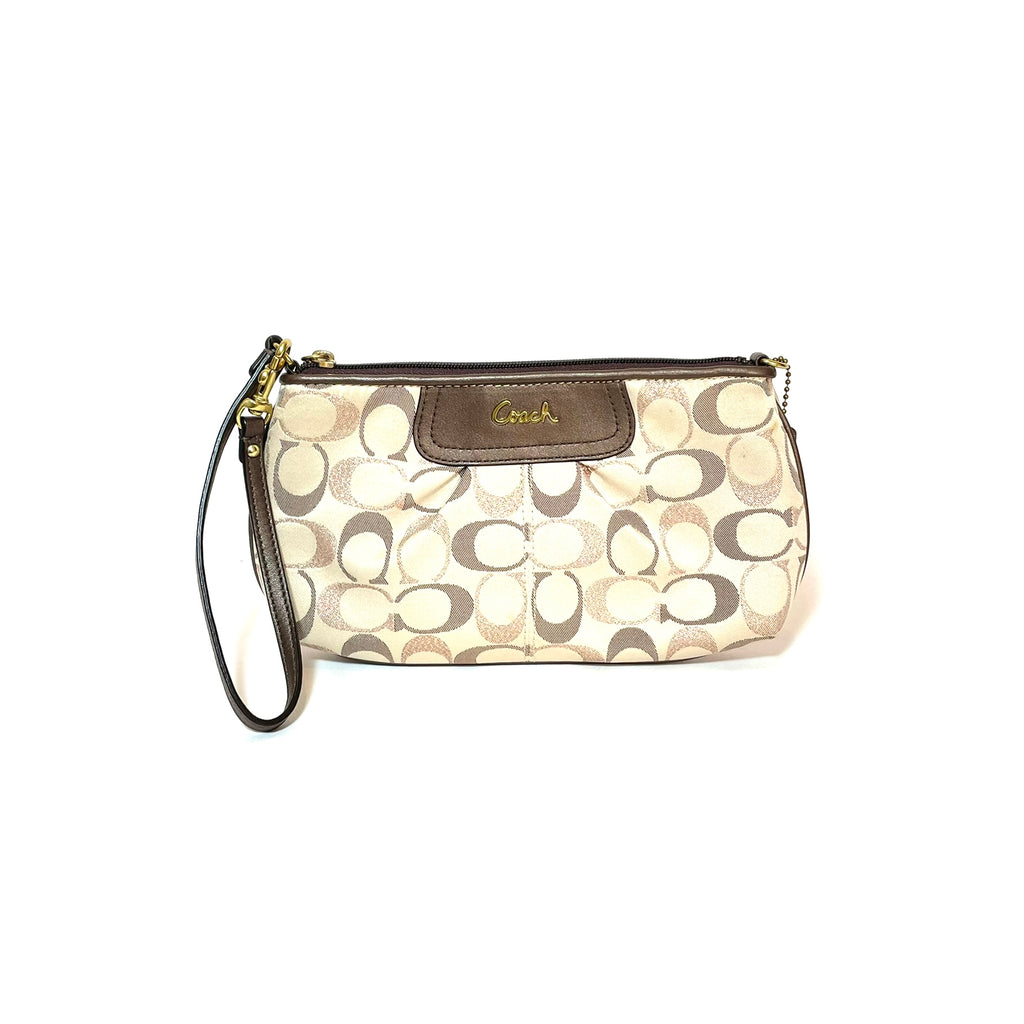 Coach Beige Metallic Monogram Wristlet | Gently Used |