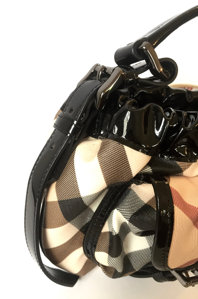 Burberry Classic Print with Patent Leather Trim Shoulder Bag | Like New | - Secret Stash