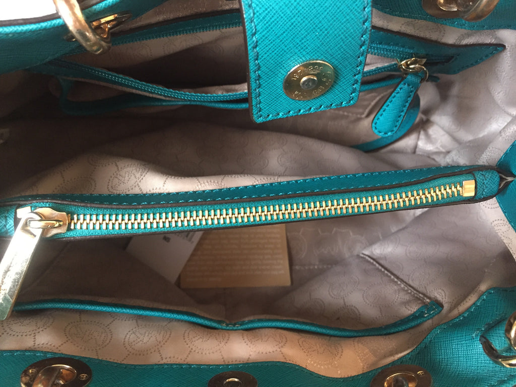 Michael Kors 'Cynthia' Aqua Leather Satchel | Pre Loved | - Secret Stash