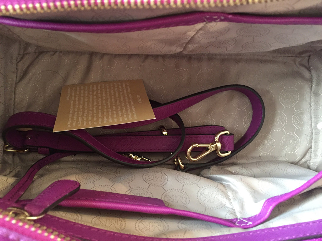 3b28fd8337ef Michael Kors Large Selma Purple Saffiano Studded Satchel