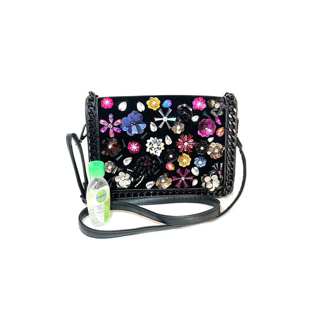 ALDO Black Floral Shoulder Bag | Gently Used |