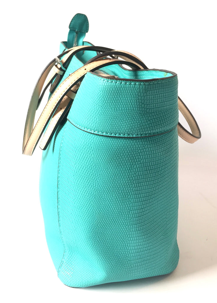 GUESS Turquoise Textured Leather Tote | Like New |