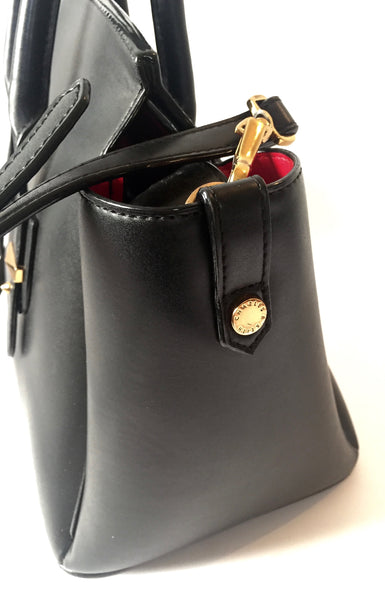 Charles & Keith Black Leather Tote Bag | Gently Used |