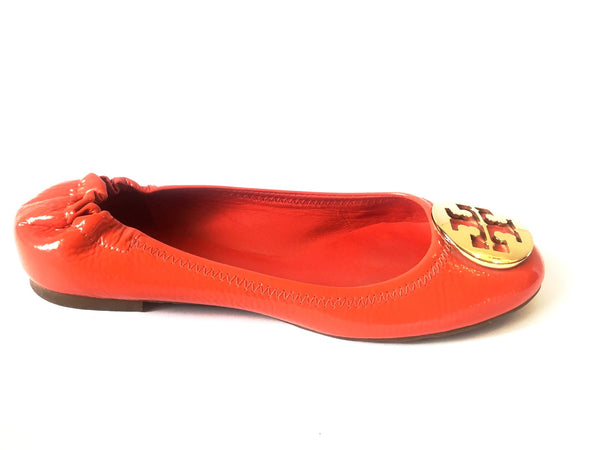 Tory Burch 'Reva' Habanero Pepper/ Gold Ballet Flats | Gently Used | - Secret Stash
