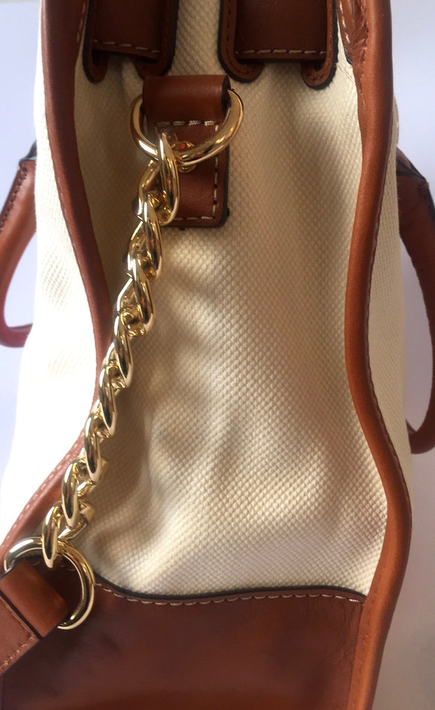 MICHAEL Michael Kors Large Hamilton Leather Trim Striped Canvas Tote Bag | Gently Used | - Secret Stash