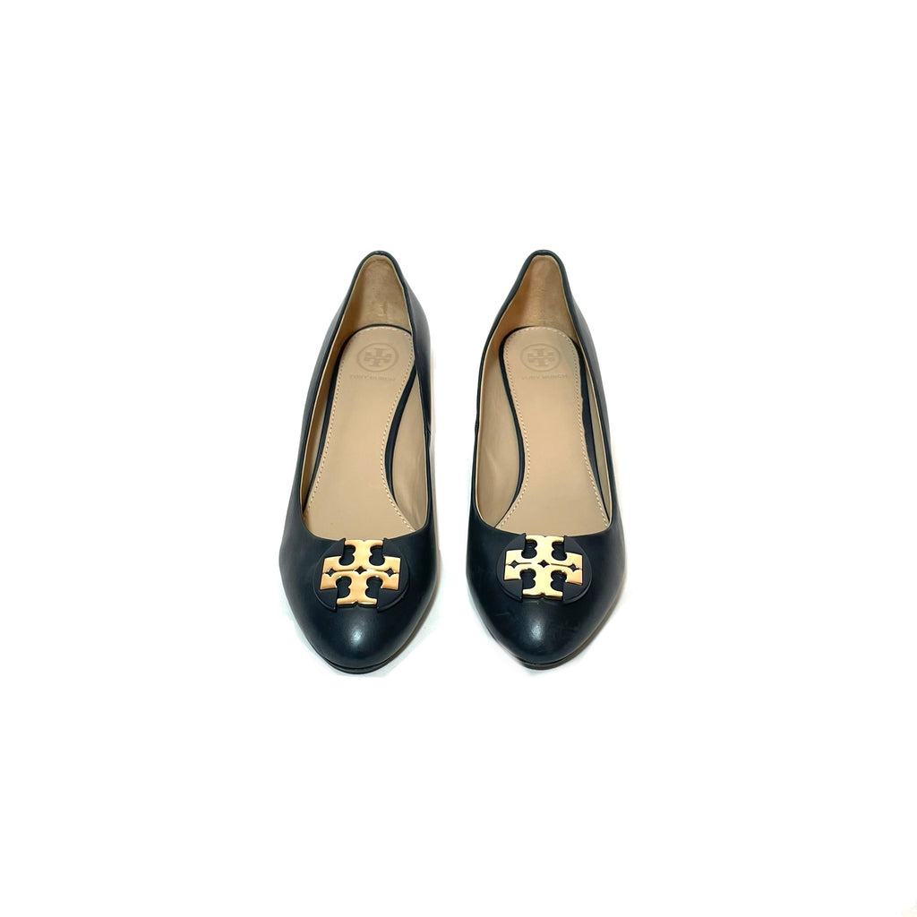 Tory Burch Navy Leather Wedges | Pre Loved |