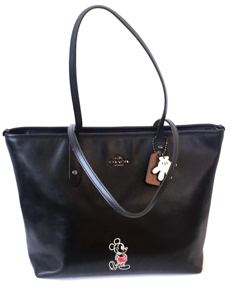Coach x Disney Limited Edition Mickey Mouse Black Leather Tote | Pre Loved |