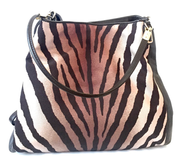 Coach Tiger Print Canvas & Leather Shoulder Bag | Gently Used |