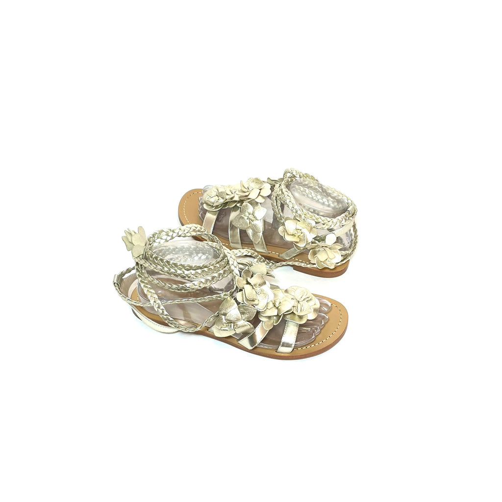 Tory Burch Gold Floral Strappy Flats | Like New |
