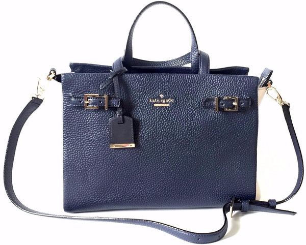 Kate Spade Pebbled Navy Blue & Cream Leather Bag | Gently Used |