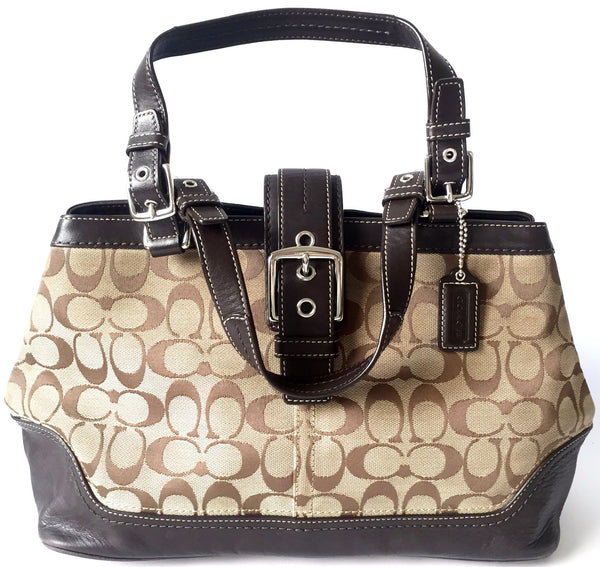 Coach Signature Collection Beige Canvas with Leather Trim Bag | Pre Loved | - Secret Stash