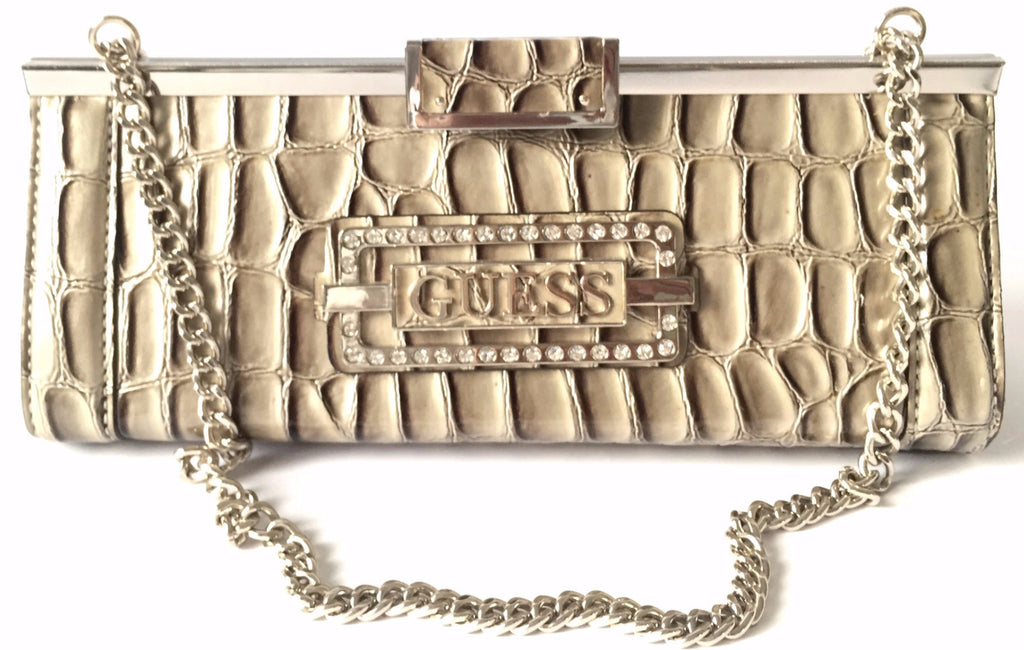 GUESS Pebbled Faux Leather with Rhinestones Shoulder Bag | Pre Loved | - Secret Stash