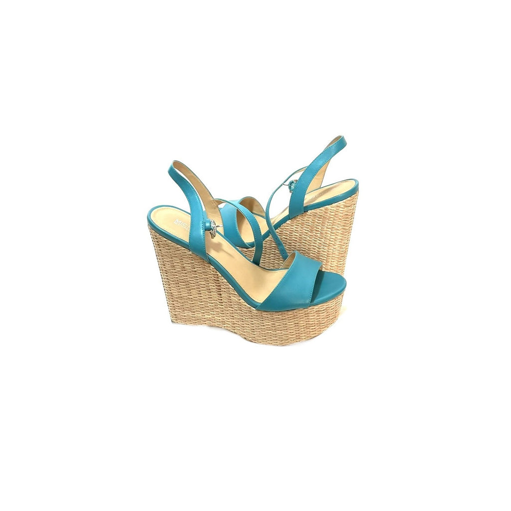 Michael Kors 'Fisher' Turquoise Jute Wedges | Gently Used |