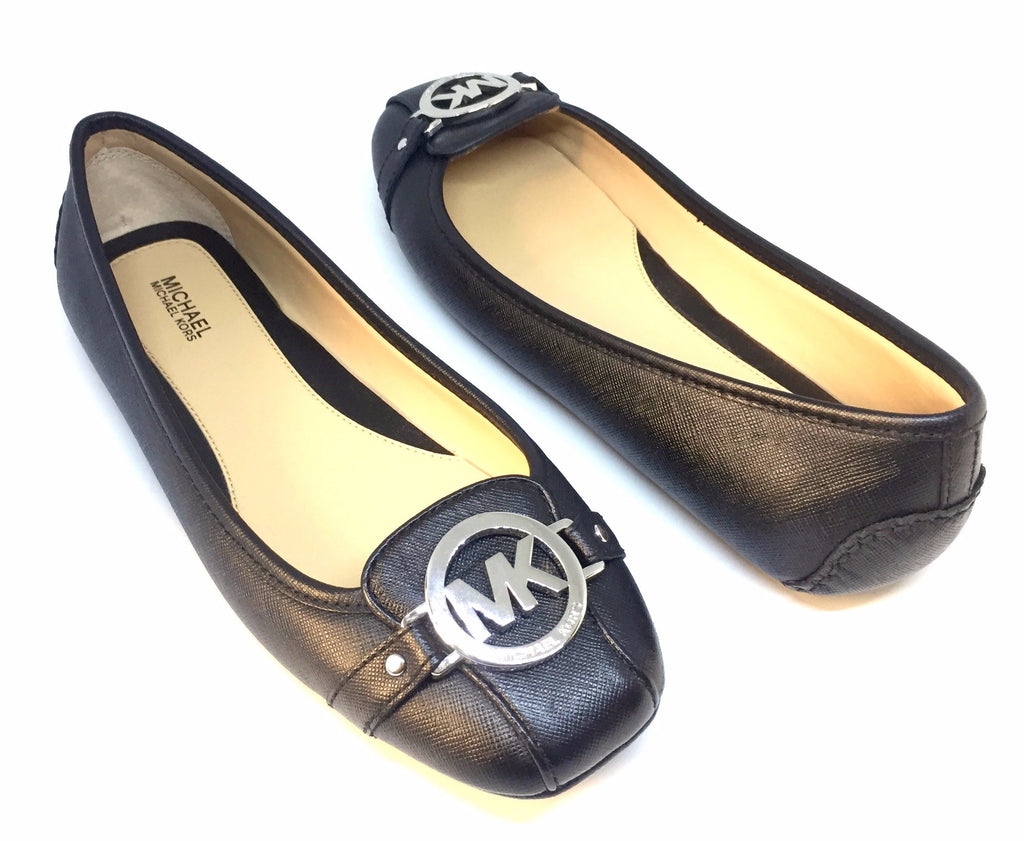 MICHAEL Michael Kors 'Fulton' Black Leather Ballet Flats | Like New |