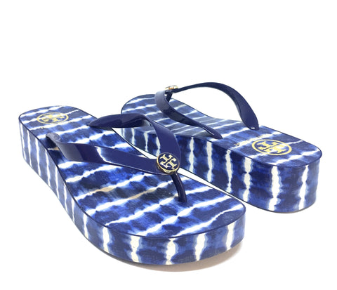 Tory Burch Printed Wedge Flip Flop Sandals | Like New |