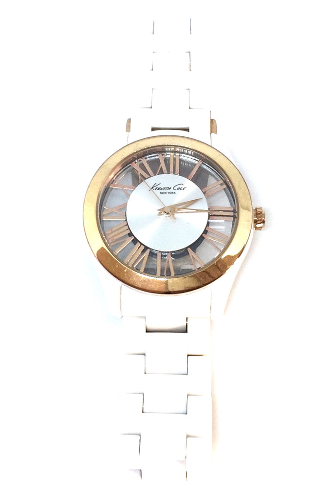 Kenneth Cole White & Gold Ceramic Bracelet Watch | Gently Used |