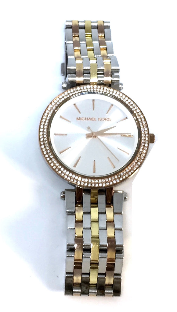 Michael Kors Darci Pavé Silver & Gold Toned Watch | Gently Used |