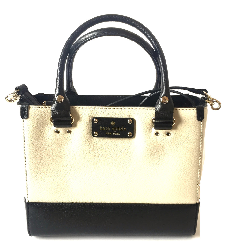 Kate Spade Cream and Black Leather Small Tote | Like New |