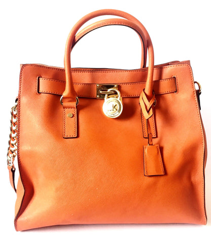 Michael Kors Large Orange Leather Hamilton Tote | Pre Loved |
