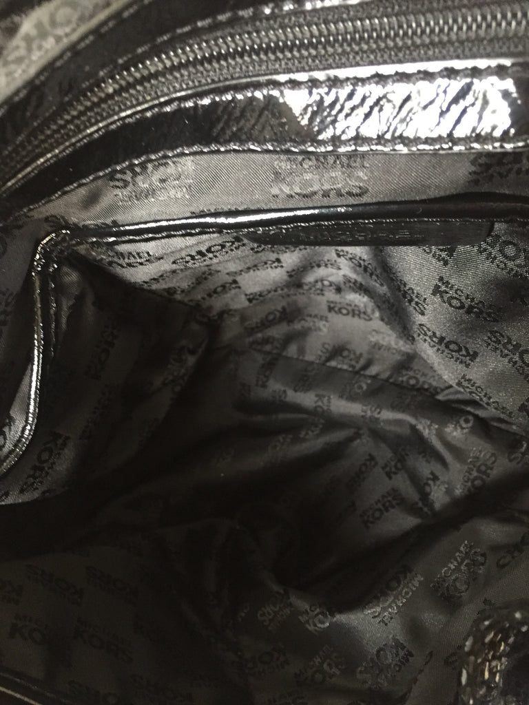 MICHAEL Michael Kors Black Metallic Python Shoulder Bag   Gently Used   -  Secret Stash 7ec8012154