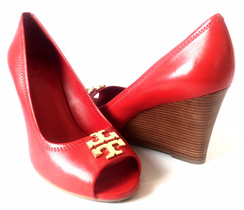 Tory Burch Red Leather Peep Toe Wedges | Brand New |