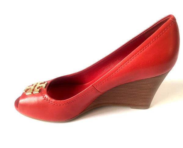 Tory Burch Red Leather Peep Toe Wedges | Brand New | - Secret Stash