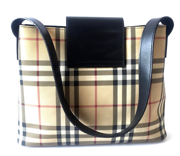 Burberry Classic Check with Leather Trim Shoulder Bag | Gently Used | - Secret Stash