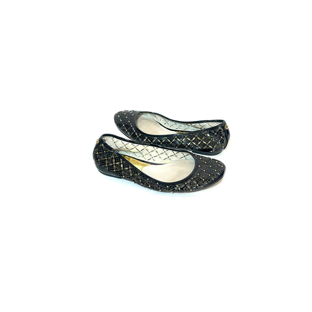 Michael Kors Black Leather Gabriella Perforated Ballet Flats | Pre Loved |
