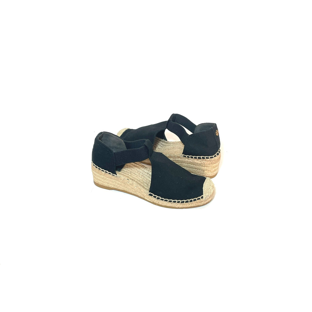 Tory Burch Black Canvas Espadrille Wedges | Gently Used |