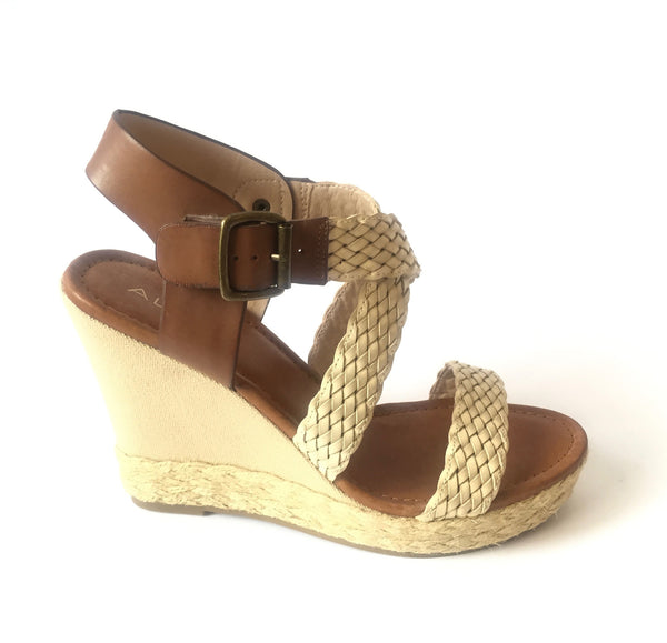 ALDO Criss-Cross Beige Platform Straw & Leather Wedges | Brand New | - Secret Stash