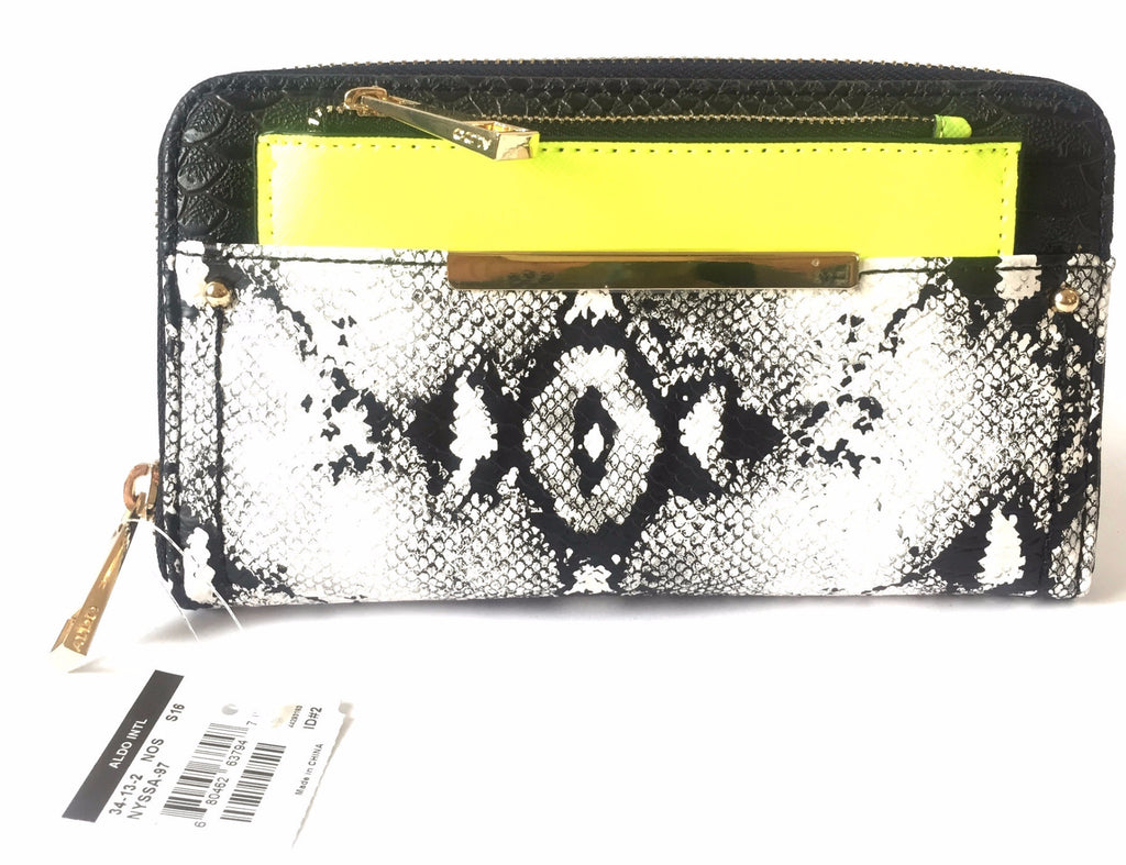 ALDO 'Nyssa-97' Snakeskin, Neon Green & Black Wallet | Brand New | - Secret Stash