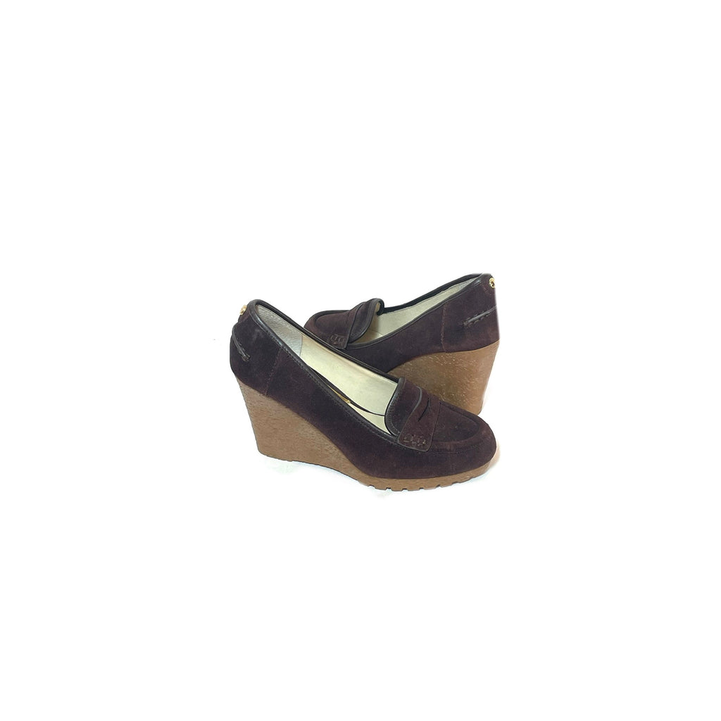 Michael Kors Brown Suede Wedge Loafers | Gently Used |