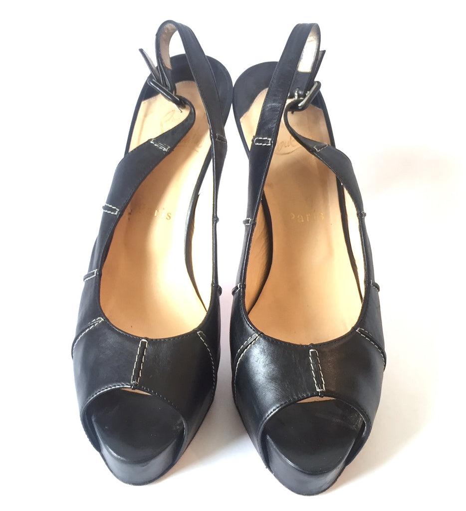 Christian Louboutin Black Leather Peep-Toe Sling Back Heels | Pre Loved | - Secret Stash