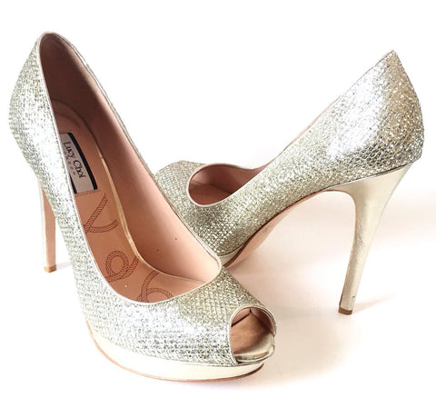 Lucy Choi London 'Amazonite' Glitter Peep-toe Pumps | Like New |